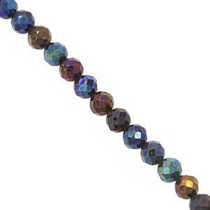 40cts Mystic Blue Coated Spinel Faceted Round Approx 4mm, 31cm Strand