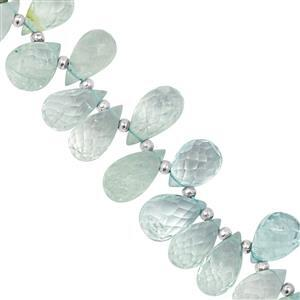 135cts Aquamarine Top Side Drill Faceted Drop Approx 8x4.5 to 15x9mm, 26cm Strand with Spacers