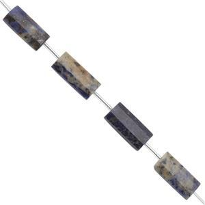 LIMITED EDITION -175cts Sodalite Faceted Rectangle With Spacers Approx 25x10 to 25x12mm, 30cm Strand