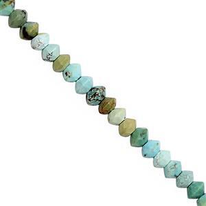 13cts Turquoise Faceted Saucer Approx 2.7x1.6mm to 3x1.7mm 29cm Strand