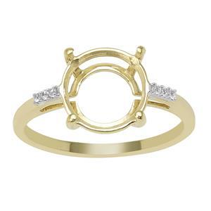 9ct Gold Round Ring Mount (To fit 10x10mm gemstone) With White Zircon Side Detail