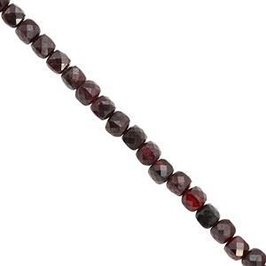 88cts Garnet Faceted Cube Approx 4mm, 38cm Strand