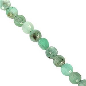 10cts Emerald Center Drill Faceted Coin Approx 4mm, 19cm Strand