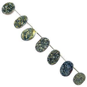 Greenish Blue Colour Coated Druzy Quartz Gemstone Strands