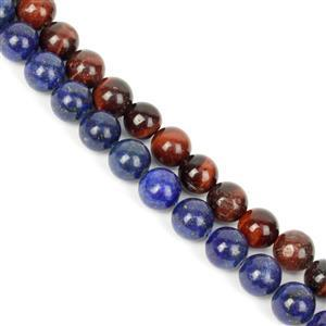 Double Trouble 8mm Plain Rounds Bundle - Lapis Lazuli and Red Tiger's Eye