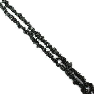 """400cts Black Spinel Small Chips Approx 3x2 - 6x4mm, 60"""" Strand"""