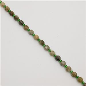 70cts Green Garnet Faceted Satellite Beads Approx 5x6mm, 38cm Strand