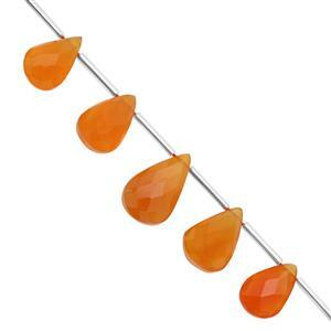 75cts Orange Chalcedony Top Side Drill Faceted Pear Approx 12.5x8.5 to 19x12mm, 18cm Strand with Spacers