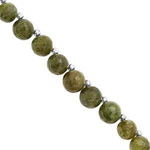 115cts Green Vesuvianite Faceted Round Approx 7 to 10mm, 21cm Strand with Spacers