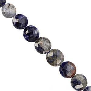 88cts Sodalite Graduated Faceted Coin Approx 8.5 to 14mm, 23cm Strand