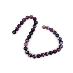 360cts Dyed Purple Stripe Agate Plain Rounds Approx 12mm, 38cm