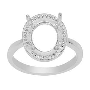 925 Sterling Silver Oval Halo Ring Mount (To fit 11x9mm Gemstones)