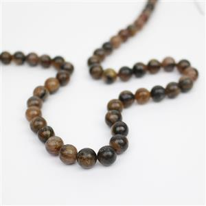 200cts Staurolite Plain Rounds Approx 8mm, 38cm strand