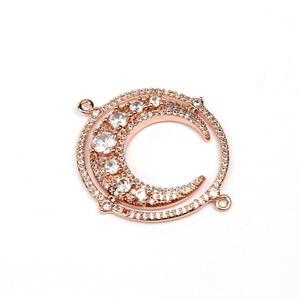 Rose Gold Plated Base Metal CZ Moon Connector, Approx. 30mm (1pc)