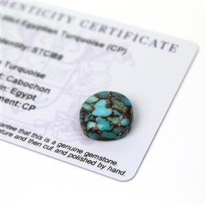 10cts Egyptian Turquoise 15x15mm Cushion  (CP)