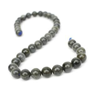 270cts Black Labradorite Plain Rounds Approx 10mm, 38cm Strand