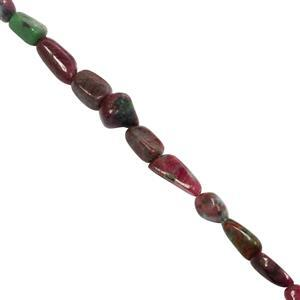 55cts Ruby Zoisite Graduated Smooth Nugget Approx 4mm to 12x7.5mm, 19cm strand