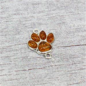 Sterling Silver Baltic Cognac Amber Paw Print Connector, Approx 14x17mm