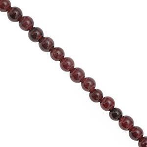 170cts Garnet Smooth Round Approx 3 to 4mm, 100cm Strand