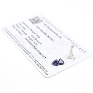 Silver Triangle Lolite Ring Kit; 6x6m Lolite & Mount
