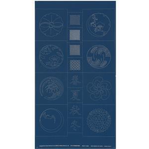 Sashiko Tsumugi Preprinted Kamon 20 Indigo Blue Fabric Panel 108x61cm