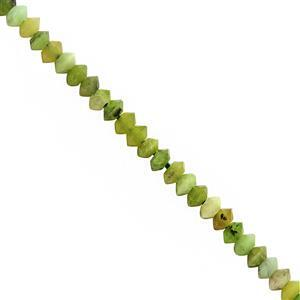 10cts Green Serpentine Faceted Saucer Approx 3x1.5mm, 25cm Strand