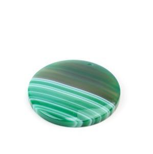 70cts Green Stripe Agate Coin Pendant Approx 40mm,1pk