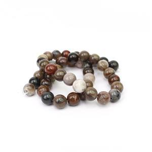 170cts African Wood Agate Approx 8mm, 38cm strand