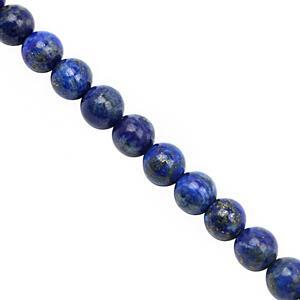 82cts Lapis Lazuli Smooth Round Approx 6 to 6.50mm, 28cm Strand