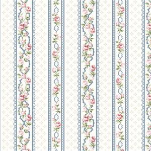 Vintage Roses Blue Stripe Fabric 0.5m