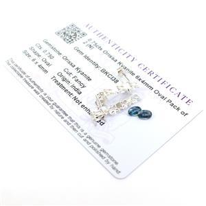 0.75cts Orissa Kyanite 6x4mm Oval Pack of 2 and 925 Sterling Silver Earring Mounts!