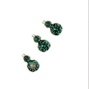 Swarovski Multi Stone Pendant 2 Stones, Emerald, Gold, 16x8.5mm 3pk
