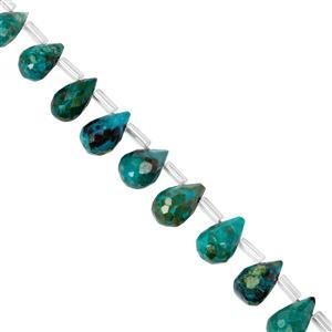 33cts Chrysocolla Top Drill Faceted Drop Approx 6x4mm to 11x8mm 20cm Strand with Spacers