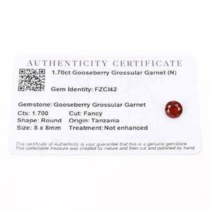 1.7cts Gooseberry Grossular Garnet 8x8mm Round  (N)