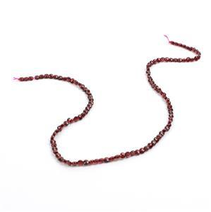 25cts Garnet Faceted Coins Approx 4mm , 38cm strand