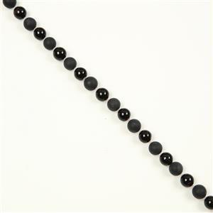 215cts Black Agate Matt Plain Rounds, Black Agate Plain Round & Rose Quartz, Approx 10mm & 2mm, 38cm