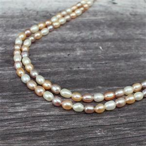 Multi Colour Freshwater Cultured Rice Pearls Approx 5x6 to 6x8mm, 1m strand