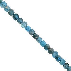 70cts Neon Apatite Graduated Faceted Cube Approx 3.50 to 4.50mm, 38cm Strand