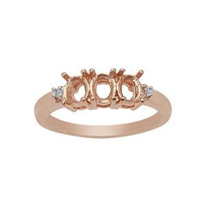 Rose Gold Plated 925 Sterling Silver Trilogy Oval Ring Mount with White Zircon (To fit 5x4mm gemstone)- 1pcs