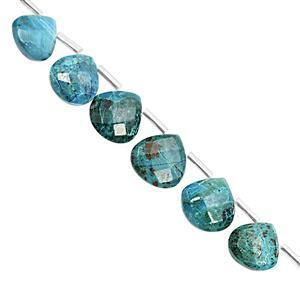 65cts Chrysocolla Top Side Drill Faceted Heart Approx 8.5 to 13.5mm, 17cm Strand with Spacers