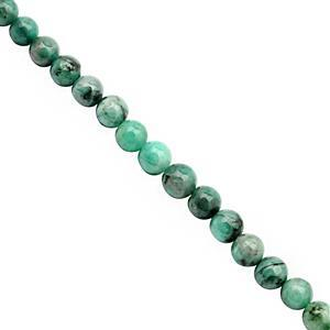 95cts Emerald Plain Bead Round Approx 4.5 to 7mm, 38cm Strand
