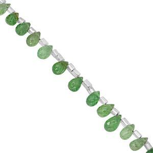 12cts Tsavorite Garnet Top Side Drill Graduated Faceted Drop Approx 4x3 to 7x4mm, 10cm Strand with Spacers