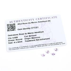 0.8cts Rose du Maroc Amethyst Round Brilliant 4x4mm