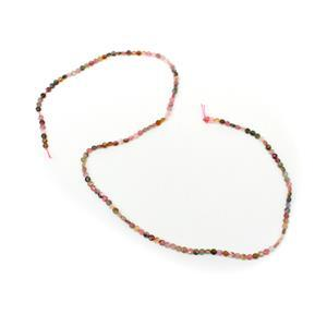 9cts Multi - Colour Tourmaline Faceted Coins Approx 2mm, 38cm strand