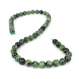 226cts Ruby Zoisite Plain Rounds Approx 8mm, 38cm Strand