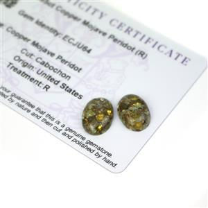 8.85cts Copper Mojave Peridot 14x10mm Oval Pack of 2 (R)