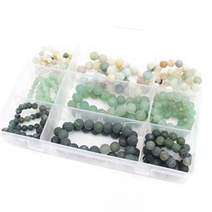 1770cts Matt Finish Multi Gems Assorted Shapes & Sizes 9 Strands in Box 38cm