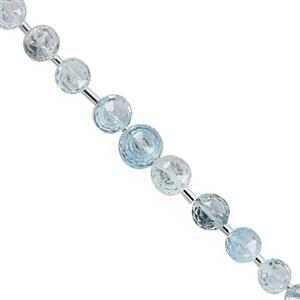 40cts Sky Blue Topaz Graduated Faceted Onion Approx 5x4 to 8x6mm 15cm Strand With Spacers