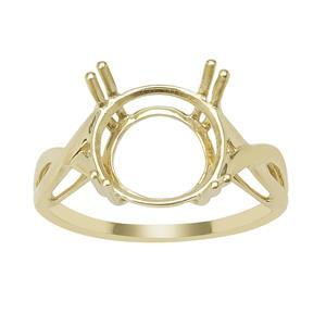 9ct Gold Cross Over Round Ring Mount (To fit 11x11mm gemstone)