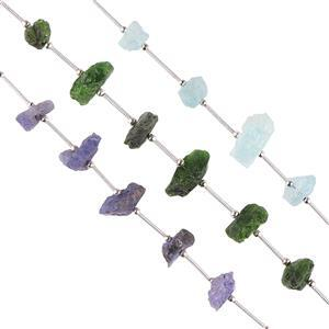 Tanzanite, Aquamarine & Chrome Diopside Gemstone Strands